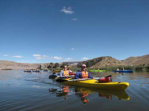 Kayaking in the highest lake in the world: Titicaca