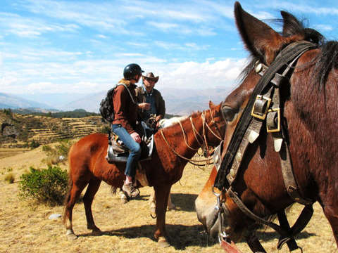 Horseback riding in the Fortress of Sacsayhuamán
