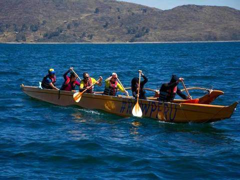 Canoes of Polynesia in Titicaca